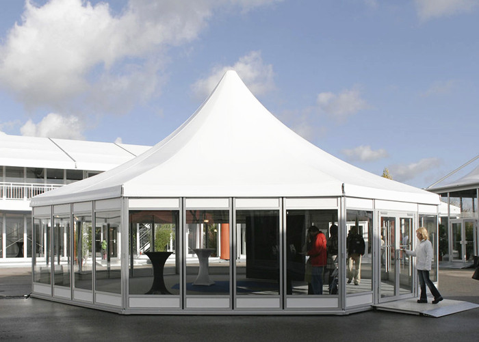 Hexagon Clear Span Pagoda Canopy Party Tent , Clear Span Steel Buildings